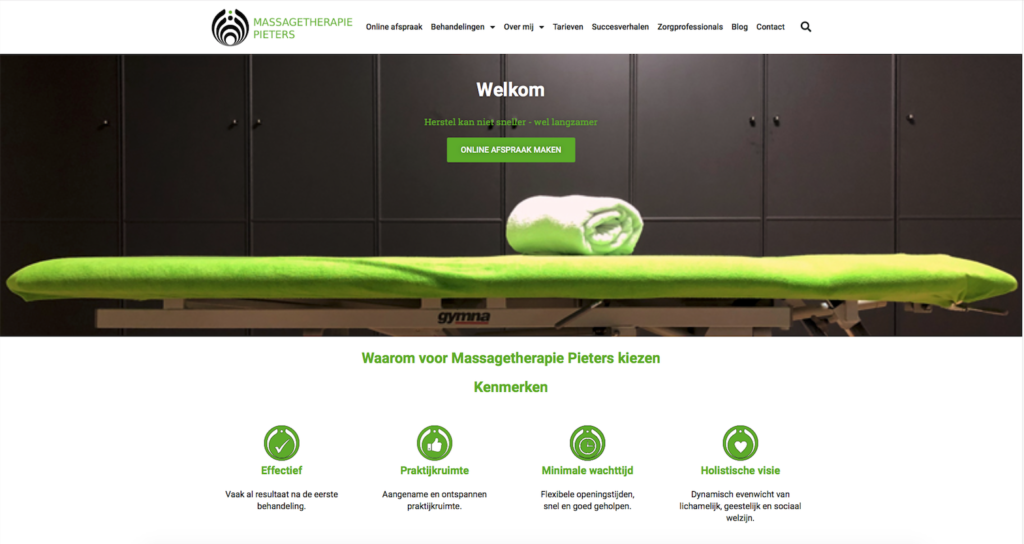 Goed nieuws! De website van Massagetherapie Pieters is live!